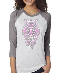 Gray Sleeve Breast Cancer Awareness Owl Monogram Raglan Shirt