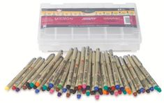 Sakura Micron Pen set at Dick Blick Art Supplies Sakura Micron, Sakura Pens, School Supplies, Art Supplies, Pigma Micron, Stabilo Boss, Pen Sets, Copics, Drawing Tools