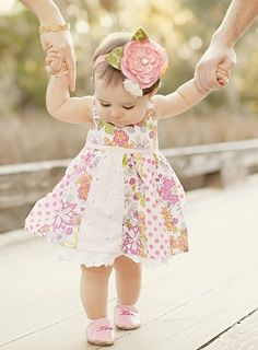 First steps fashion family dress pink vintage flowers kids baby