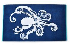 Octopus Beach Towel, Midnight/Turquoise