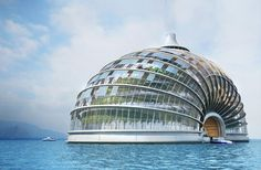 "With sea levels rising, floating buildings are all the rage. Here is one example. The Ark hotel concept, from Russia-based Remistudio is actually designed not only for floods but for earthquakes, too. It was conceived of by the architects for the ""Architecture for Disaster Relief,"" program sponsored by the International Union of Architects."