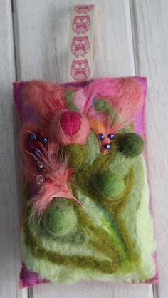 Decorative felt hanging cushion - pretty in pink £12.00