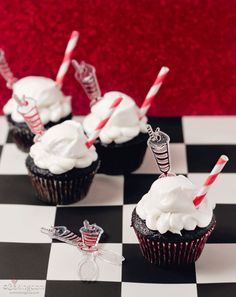Root Beer Float Cupcakes - the cupcakes sound out-of-this-world-yummy but the adorable little straws?  and the root beer float picks/spoons?  Wow!