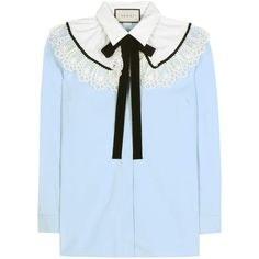 Gucci Lace-Embellished Cotton Blouse (€790) ❤ liked on Polyvore featuring tops, blouses, shirts, blue, gucci, lace top, cotton shirts, blue lace blouse, gucci blouse and cotton lace shirt