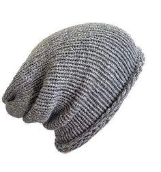 bc76e4bd62d Amazon.com  Mens Grey Pure Premium Alpaca Slouchy Lightweight  Hypoallergenic Beanie Hat  Handmade