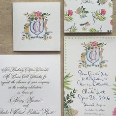 Invitation Suite with Custom Watercolor Crest and Calligraphy