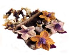 Knit felted purse. Felted handbag. Felt flowers and leaves. Boho chic. Gypsy hippy handbag. Wool mohair. $57.00, via Etsy.