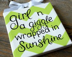 giggles wrapped in sunshine 6x6 hand painted canvas by poshpaints, $21.00