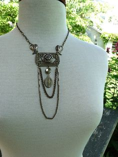* Inspiration - Rustic Gypsy Vintage Assemblage Necklace, Cut Steel and Sterling Silver…French market