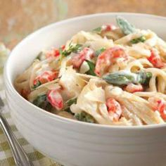 CRAWFISH AND ASPARAGUS ALFREDO