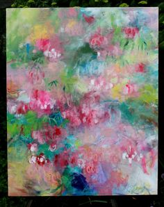 Abstract Floral Painting on Large Canvas by kerriblackmanfineart