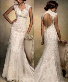 2014 New Cap Sleeve Wedding Dress upscale Lace by Perfectdresses, $169.00