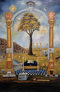 Ancient Masonic Chart Symbols of Art Poster