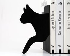 Black Cat Bookends  Running Cat  laser cut for by DesignAtelierArticle, €39.00