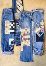 The B SIDES x BODE Quilt Patchwork Jean is patch-worked denim sourced from antique American quilts. The authentic vintage Levi's are re worked in New York by B Sides. Blue Jean Quilts, Patch Pants, American Quilt, Denim Ideas, Patchwork Jeans, Denim Outfit, Vest, Diy, Sewing
