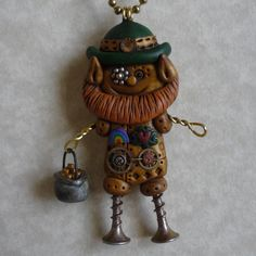 Steampunk St. Patrick's Day Leprechaun Necklace Polymer Clay  https://www.etsy.com/shop/Freeheart1
