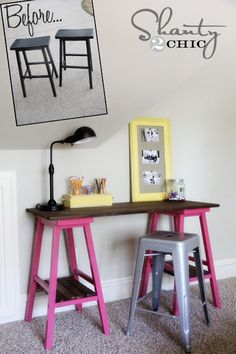 DIY desk made from barstools.  Use a garden themed or industrial stool?