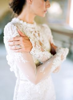 Wedding Dress: Inbal Dror - www.inbaldror.co.il/en Photography: Jose Villa Photography - josevillablog.com   Read More on SMP: http://www.stylemepretty.com/2016/02/29/dreamy-lilac-blush-wedding-inspiration/