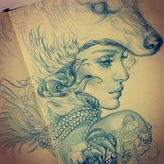 'Lady' by sooj.deviantart.com on @deviantART. Would make an excellent tattoo....