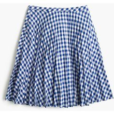 J.Crew Gingham Pleated Mini Skirt (445 SEK) ❤ liked on Polyvore featuring skirts, mini skirts, bottoms, faldas, long summer skirts, blue pleated skirt, short pleated skirt, blue mini skirt and short summer skirts
