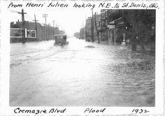 Inondations en juin 1932, sur le boulevard Crémazie, vue vers le nord-est de la rue Henri-Julien vers la rue Saint-Denis / Service de l'Aqueduc. Archives de la Ville de Montréal. VM4-14-Y-1_21-0079