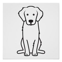 Golden Retriever Dog Cartoon Perfect Poster