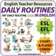 Daily Routines in English - Chart - Flash Cards