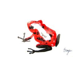 Watercolor Ink Painting - Red Poison Dart Frog - Minimalist Sumi-e - Art Print