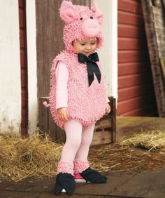squiggly piggy baby costume - This little piggy went to market, this little piggy went trick or treating! (Way more fun, don't you agree?) This playful bodysuit's covered with curly embellishments, has a tail and satin bow. Fleece-lined separate hood has ears and snout. Comes with little black hooves, too.