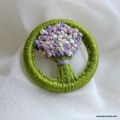 Dorset Button Brooch - Spring Flowers