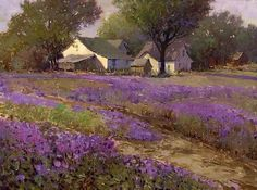"""Country lavender"" By Kent R. Wallis, from Ogden, Utah, US (b. 1945) oil on canvas http://www.kentwallisart.com/"