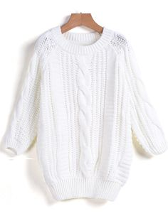 Shop White Round Neck Cable Knit Sweater online. Sheinside offers White Round Neck Cable Knit Sweater & more to fit your fashionable needs. Free Shipping Worldwide!