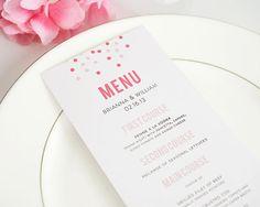 Dépôt de mariage - thé longueur Dinner Menu - Confetti - Dot Design - Ombre