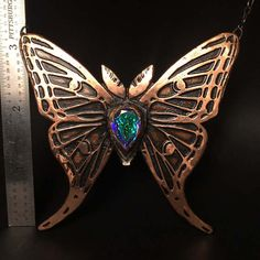 Luna Moth Necklace Copper and Labradorite Insect Jewelry
