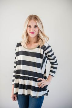 B & W Striped Peplum Blouse