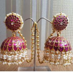 Pink Silver Jhumka With Mattal Gold Jhumka Earrings, Jewelry Design Earrings, Gold Earrings Designs, Designer Earrings, Silver Jewelry, Jewellery Box, Damas Jewellery, Silver Ring, India Jewelry
