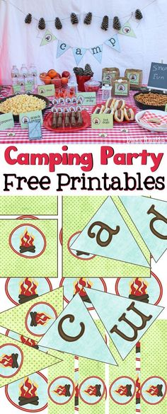 Camping Party with Free Party Printables - Love to go camping but can't leave home? Host a camping party in your backyard with these free camping themed printables. Perfect for a birthday party or movie night. These free printables include a camp banner, water bottle and juice box labels, food pick toppers, and food labels. AD #YourTaxCash