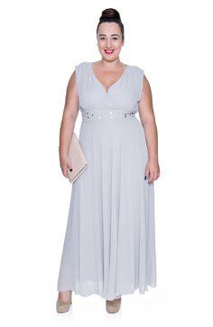 ad15dc81524fd5 Długa szara szyfonowa sukienka z szalem - Modne Duże Rozmiary
