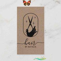 Hair Stylist Scissor Hand Logo Rustic Kraft Salon Business Card Salon Business Cards, Hairstylist Business Cards, Scissors Hand, Business Hairstyles, Elegant Logo, Hand Logo, Beauty Logo, Vintage Typography, Salons