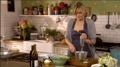 Sophie Dahl cooking up a storm in Paul Massey's kitchen. Love that she has put in the Neisha Crosland wallpaper who is her step aunt! Cosy Kitchen, Big Kitchen, Kitchen Shelves, Kitchen Ideas, Rustic Kitchen, Sophie Dahl, Apartment Therapy, Kitchen Interior, Kitchen Design