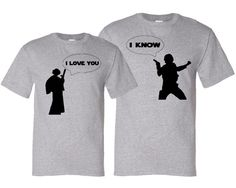I Love You - I Know - Geek Couple Valentine's Day Matching Silhouette T-Shirt Gift Set - Heather Grey / Black. $37.50, via Etsy.