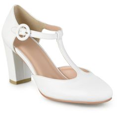 Women's Journee Collection Talie Round Toe T-Strap Pump - Off White 10