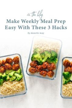 Healthy eating does not have to be time-consuming or stressful. With these weekly meal prep hacks, you will find that healthy eating becomes ten times more doable. Meal Prep For Work, Lunch Meal Prep, Meal Prep For The Week, Easy Meal Prep, Healthy Meal Prep, Healthy Tips, Healthy Dinner Recipes, Healthy Eating, Dannette May Recipes