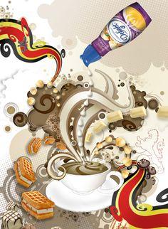 #AkA #illustration #International #Delight #Belgian #white #chocolate #macadamia #artwork #advertising