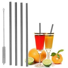 8 Stainless Steel Wide Smoothie Straws - CocoStraw Large Straight Frozen Drink Straw + 2 Cleaning Brush