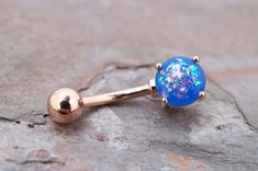 Blue Opal Rose Gold Belly Button Jewelry Ring by MidnightsMojo