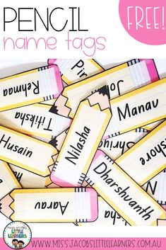 Free Pencil Name Tags for your students. These have so many uses - desk name plates, goal chart pegs, student labels, classroom labels and more! Find more free resources from Miss Jacobs Little Learners. Classroom Labels Free, Classroom Name Tags, Classroom Desk, Classroom Organization, Classroom Door Displays, Desk Organization, Student Name Plates, Student Name Tags, Desk Name Tags