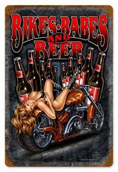 Bikes Babes Beer Vintage Metal Sign