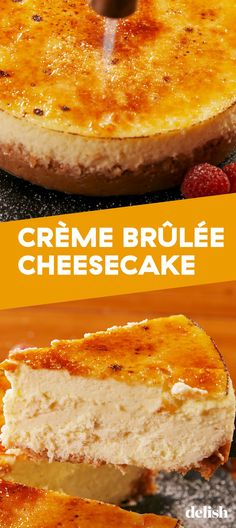Cr me Br l e Cheesecake is your two favorite desserts in one Get the recipe at recipe easy easyrecipes delish cheese cake cheesecake dessert dessertrecipes sugar cremebrulee desserts creamcheese vanilla # Brownie Desserts, No Bake Desserts, Just Desserts, Dessert Recipes, Health Desserts, Lunch Recipes, Creme Brulee Cheesecake, Cheesecake Recipes, Cheesecake Desserts
