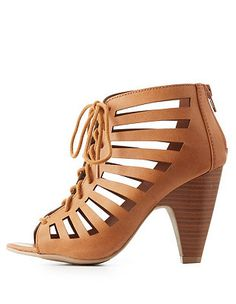 7fa51d634687 Laser-Cut Caged Lace-Up Heels  Charlotte Russe Lace Up Heels